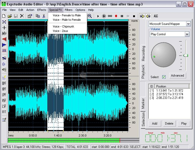 Pantallazo Expstudio Audio Editor