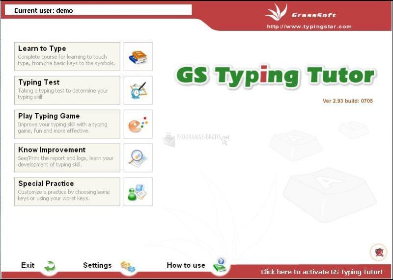 Pantallazo GS Typing Tutor