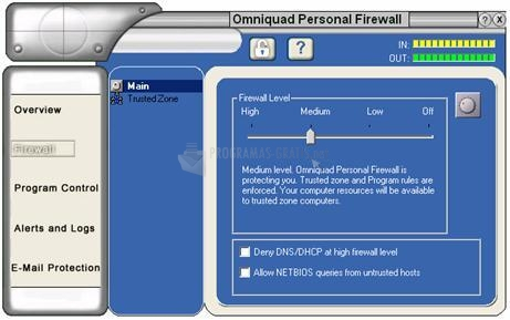 Pantallazo Omniquad Personal Firewall