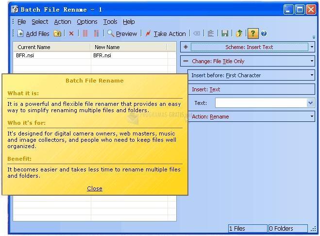 Pantallazo Batch File Renamer