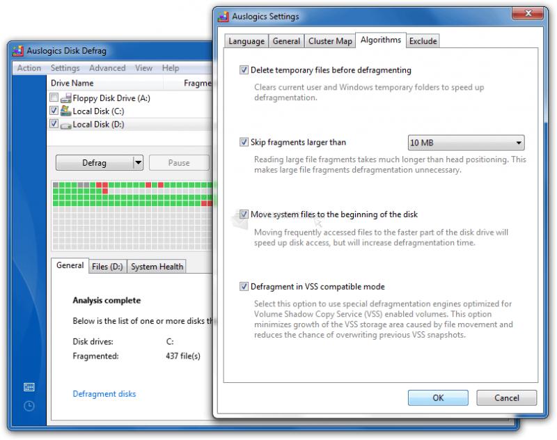 Screenshot Auslogics Disk Defrag