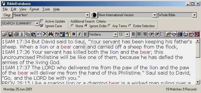 Pantallazo Bible Database