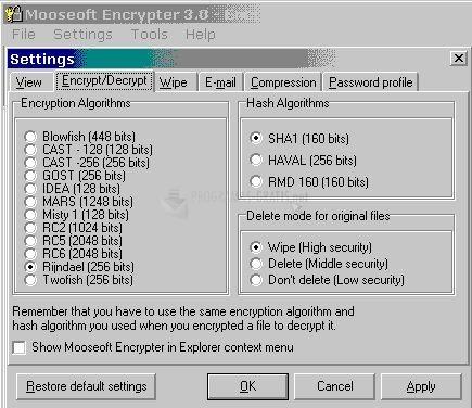 Pantallazo Mooseoft Encrypter Professional