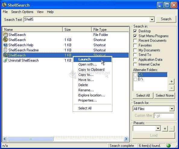 Pantallazo Shellsearch
