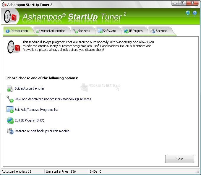 Pantallazo Ashampoo StartUp Tuner