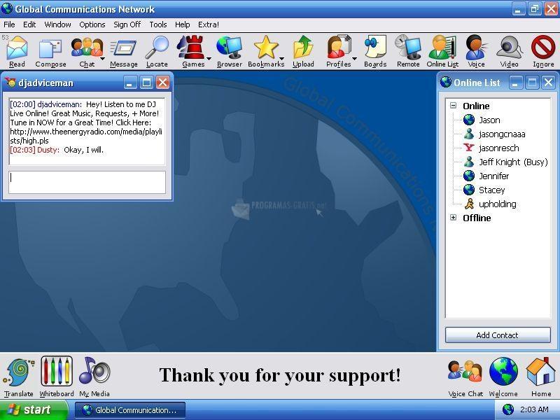 Pantallazo Global Communications Network