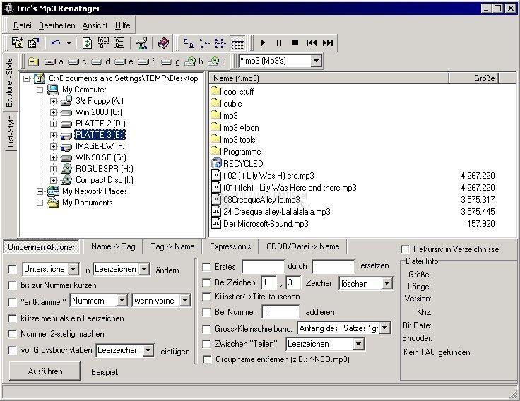 Pantallazo Tric MP3 Renatager