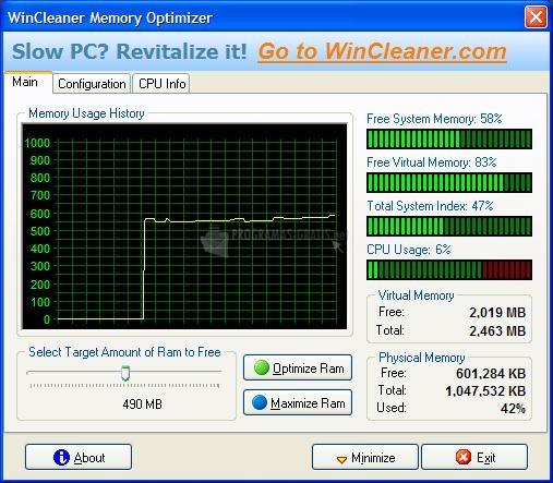 Pantallazo Memory Optimizer