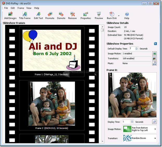 Pantallazo DVD PixPlay