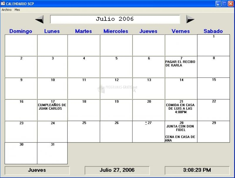 Pantallazo Agenda Calendario