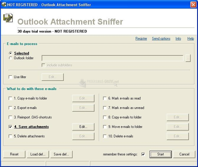 Pantallazo Outlook Attachment Sniffer