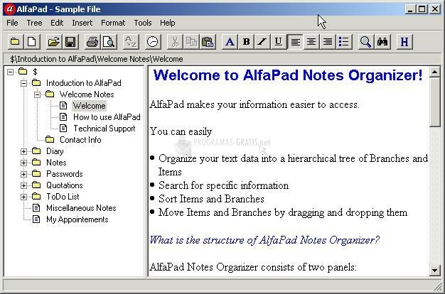 Pantallazo AlfaPad Notes Organizer