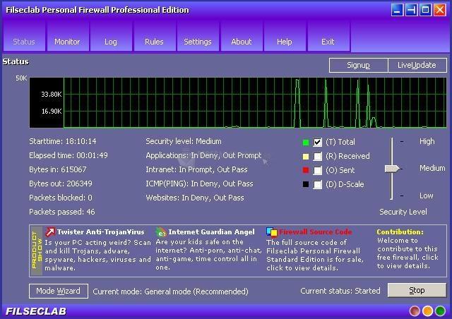 Pantallazo Filseclab Firewall Pro
