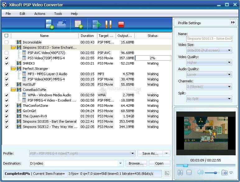 Pantallazo Xilisoft PSP Video Converter