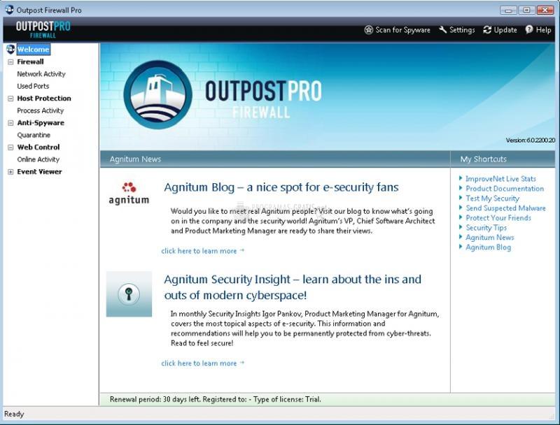 Pantallazo Outpost Firewall PRO