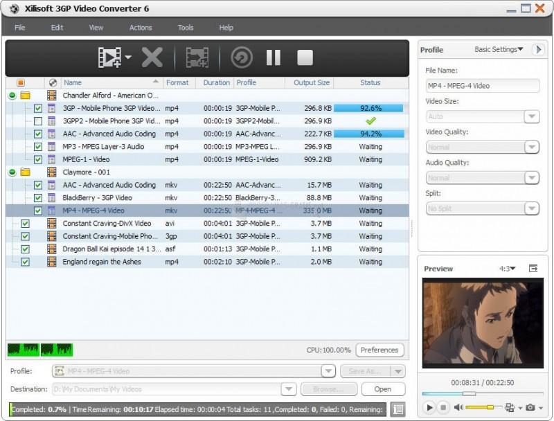 Pantallazo Xilisoft 3GP Video Converter