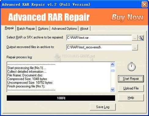 Pantallazo Advanced RAR Repair
