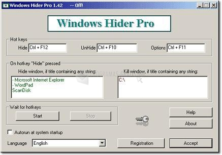 Pantallazo Windows Hider Pro