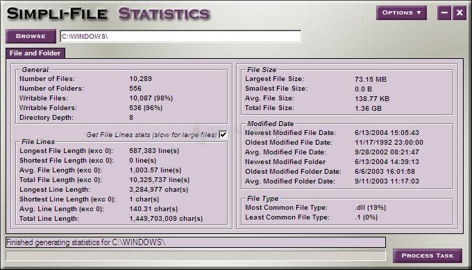 Pantallazo Simpli-File Statistics