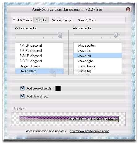 Pantallazo AmitySource UserBar Generator