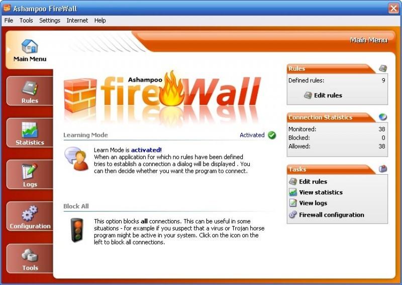 Pantallazo Ashampoo Firewall