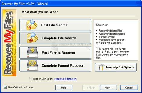 Pantallazo Recover My Files
