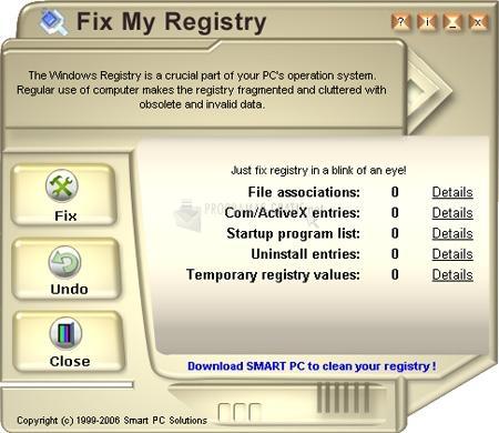 Pantallazo Fix My Registry