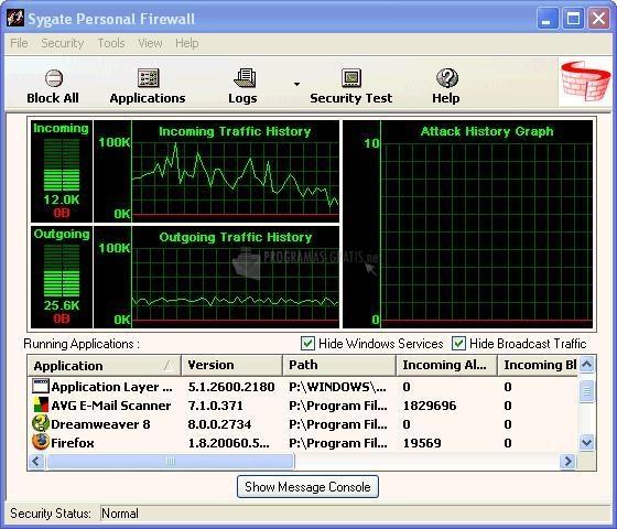 Pantallazo Sygate Personal Firewall