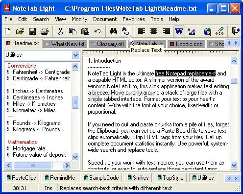 Pantallazo NoteTab Light