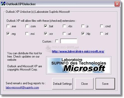 Pantallazo Outlook XP Unlocker