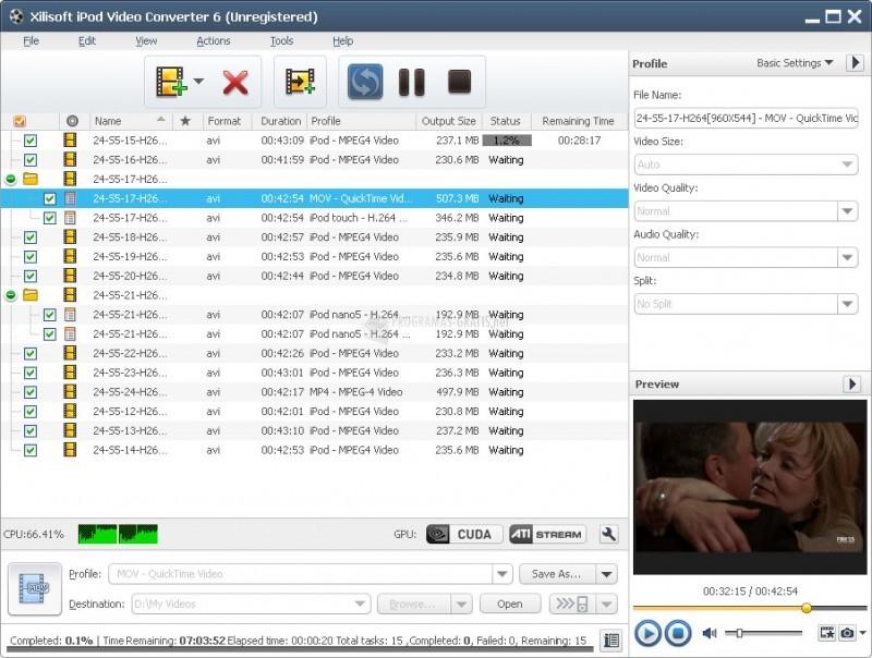 Pantallazo Xilisoft DVD to iPod Suite