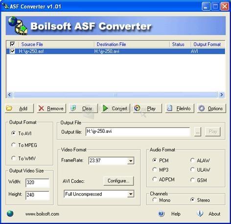 Pantallazo ASF Converter