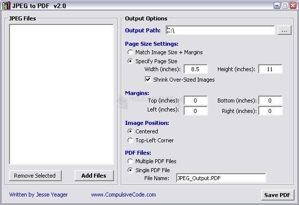 Pantallazo JPEG to PDF