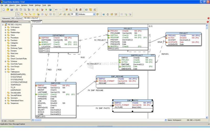 Pantallazo Toad Data Modeler