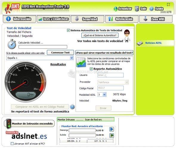 Pantallazo ADSL Navigation Tools