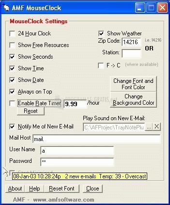 Pantallazo MouseClock