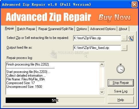Pantallazo Repairer Zip