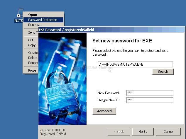Pantallazo Exe Password