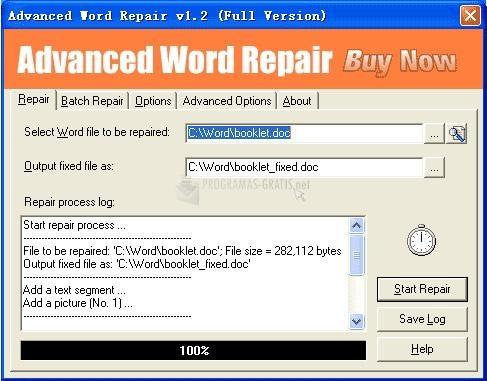 Pantallazo Advanced Word Repair