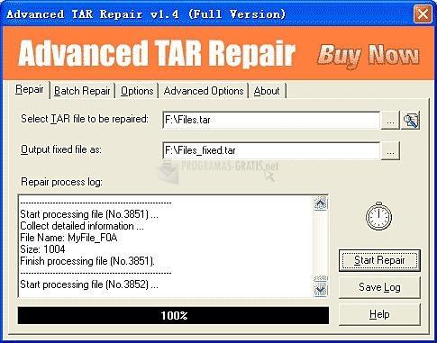 Pantallazo Advanced TAR Repair