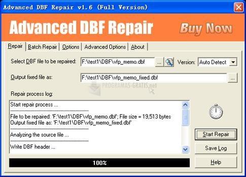Pantallazo Advanced DBF Repair
