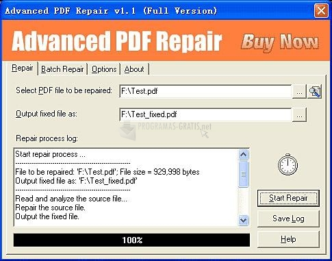 Pantallazo Advanced PDF Repair