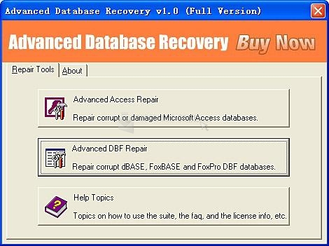 Pantallazo Advanced Database Recovery