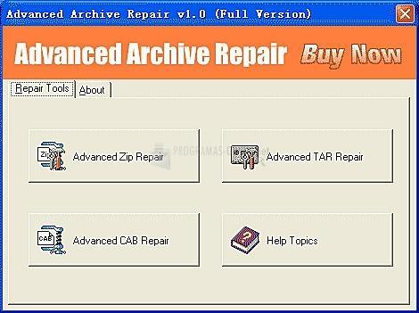 Pantallazo Advanced Archive Repair