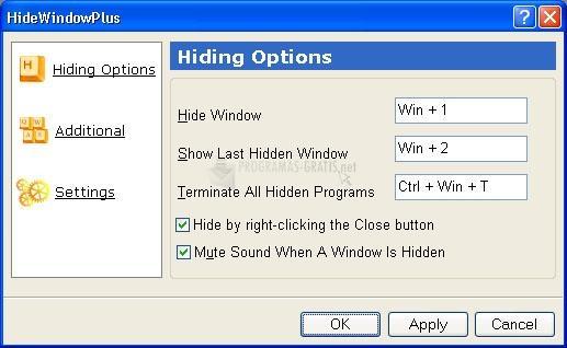 Pantallazo OneClick Hide Window