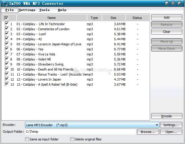 Pantallazo ImTOO WMA MP3 Converter