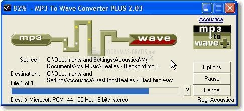 Pantalla Acoustica MP3 To Wave Converter Plus
