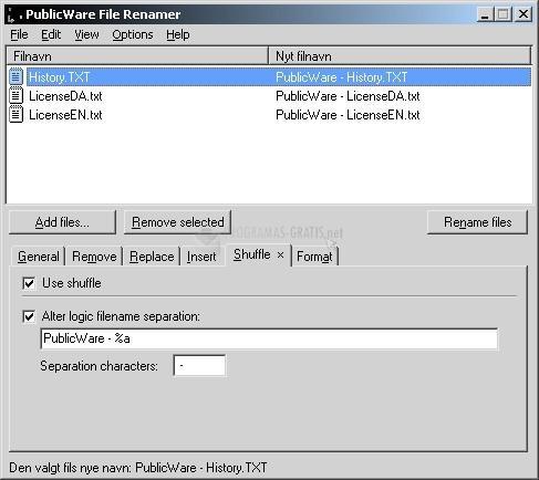 Pantallazo Publicware File Renamer