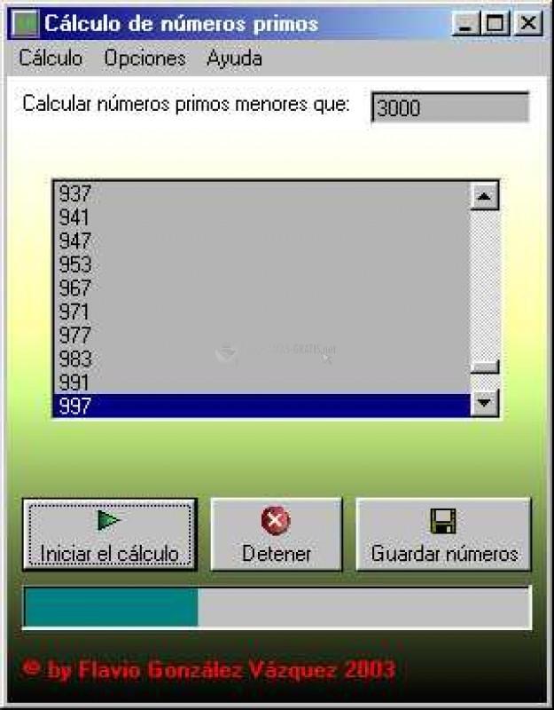 Pantallazo Cálculo de números primos