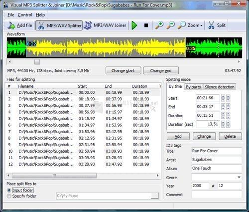Pantallazo Visual MP3 Splitter Joiner